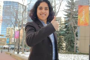 Anam Kazim's photo on official NDP candidate page (posted April 8th, 2015)