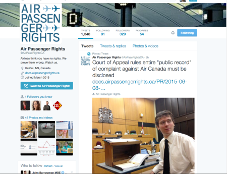 Dr. Gabor Lukacs pix on twitter in Fed Court of Appeal