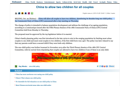 20151029 China to allow two children for all couples