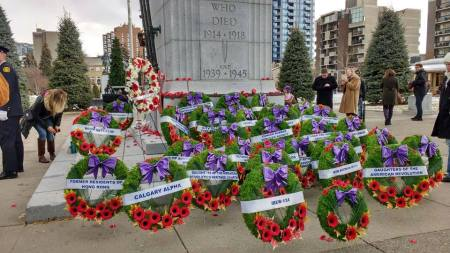 Wreaths at Calgary Central Memorial Park Cenotaph Photo credit: Terry