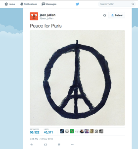 Peace for Paris posted by jean jullien - 20151113