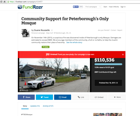 20151118 Community Support for Peterborough's Only Mosque