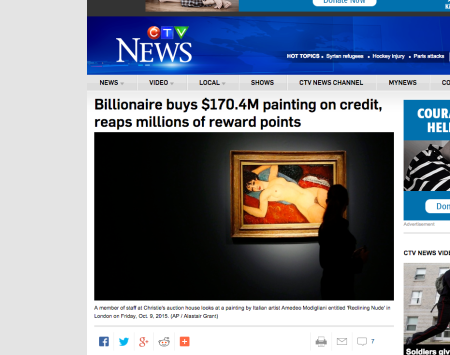 20151123 CTV News - Billionaire buys $170.4M painting on credit, reaps millions of reward points