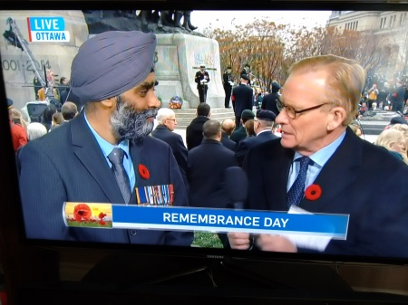Remembrance Day - Pix 02 - Minister of National Defence Harjit Sajjan interview with CTV Robert Fife