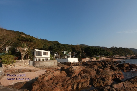 Jan 30th, 2013 photo of villas occupied by former official and wealthy businessmen 'built illegally' on government land in Tai Tam (Photo credit: Kwan Chun Hoi_