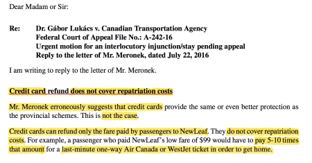 How Air Passenger Rights Advocate Dr. Gábor Lukács disagrees with NewLeaf. (with highlight added)