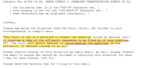 Latest Federal Court of Appeal directive to NewLeaf.