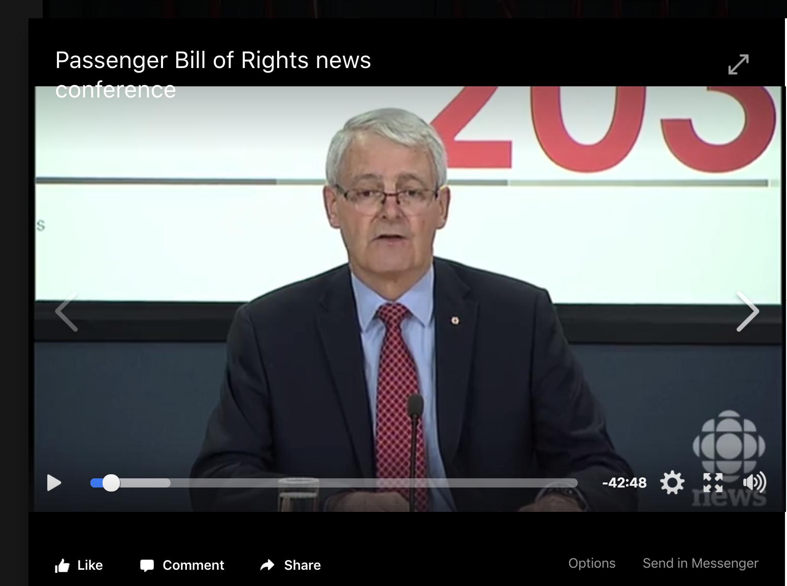Transport Minister Marc Garneau - Passenger Bill of Rights news conference