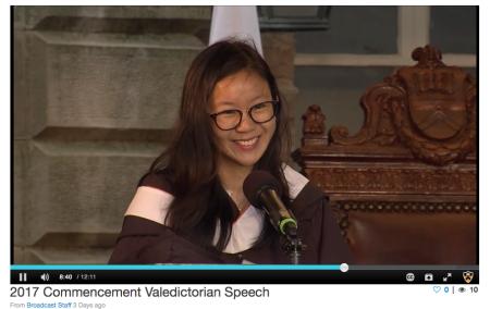 Princeton 2017 Valedictorian Ms. Jin Yun Chow