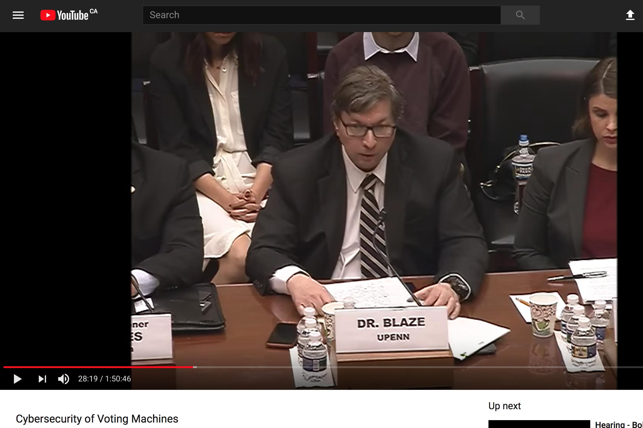 Dr. Matt Blaze's House testimony on the security of voting machines.