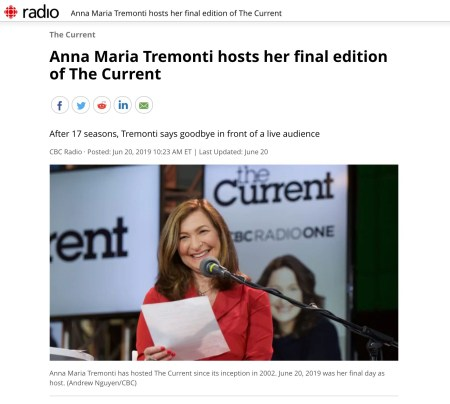 20190619 Anna Maria Tremonti's final edition of The Current