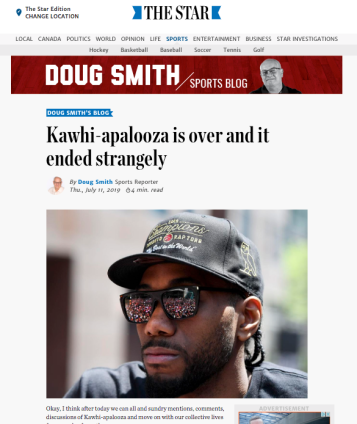 20190711 Kawhi-apalooza is over and it ended strangely By Doug Smith - Sports Reporter
