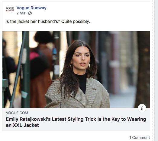 Emily Ratajkowski's Latest Styling Trick Is the Key to Wearing an XXL Jacket - Screen Shot 2019-11-27 at 10.42.11 AM