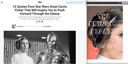 7 Quotes from Star Wars Great Carrie Fisher That Will Inspire You to Push Forward Through the Galaxy - with book cover - Screen Cap