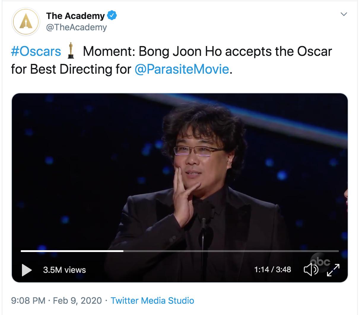 #Oscars Moment: Bong Joon Ho accepts the Oscar for Best Directing for @ParasiteMovie .