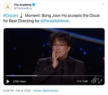 #Oscars Moment: Bong Joon Ho accepts the Oscar for Best Directing for @ParasiteMovie .