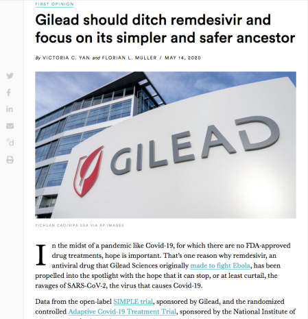 Gilead should ditch remdesivir and focus on its simpler and safer ancestor - pix